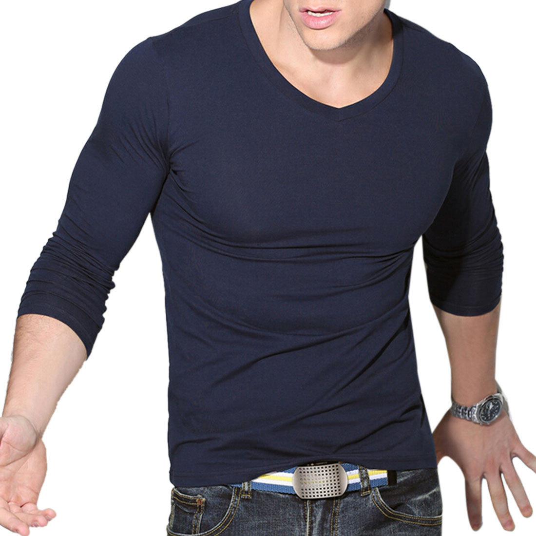 HOT New men's t-shirt slim fit long sleeve Casual muscle Shirt T ...