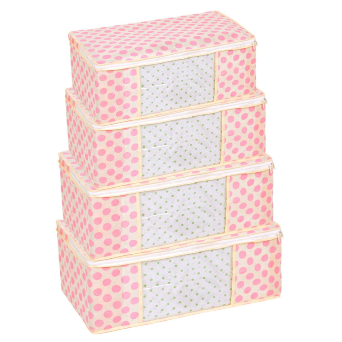 Pink Polka Dot Printed Clothes Storage Box Window Organizer Containers
