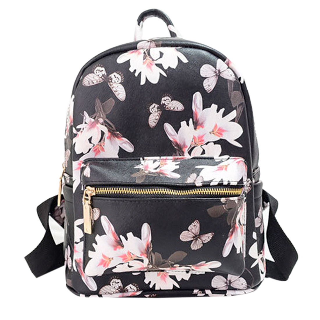 New Women Leather Butterfly Printed Satchel Backpack Shoulder Bag Back To School