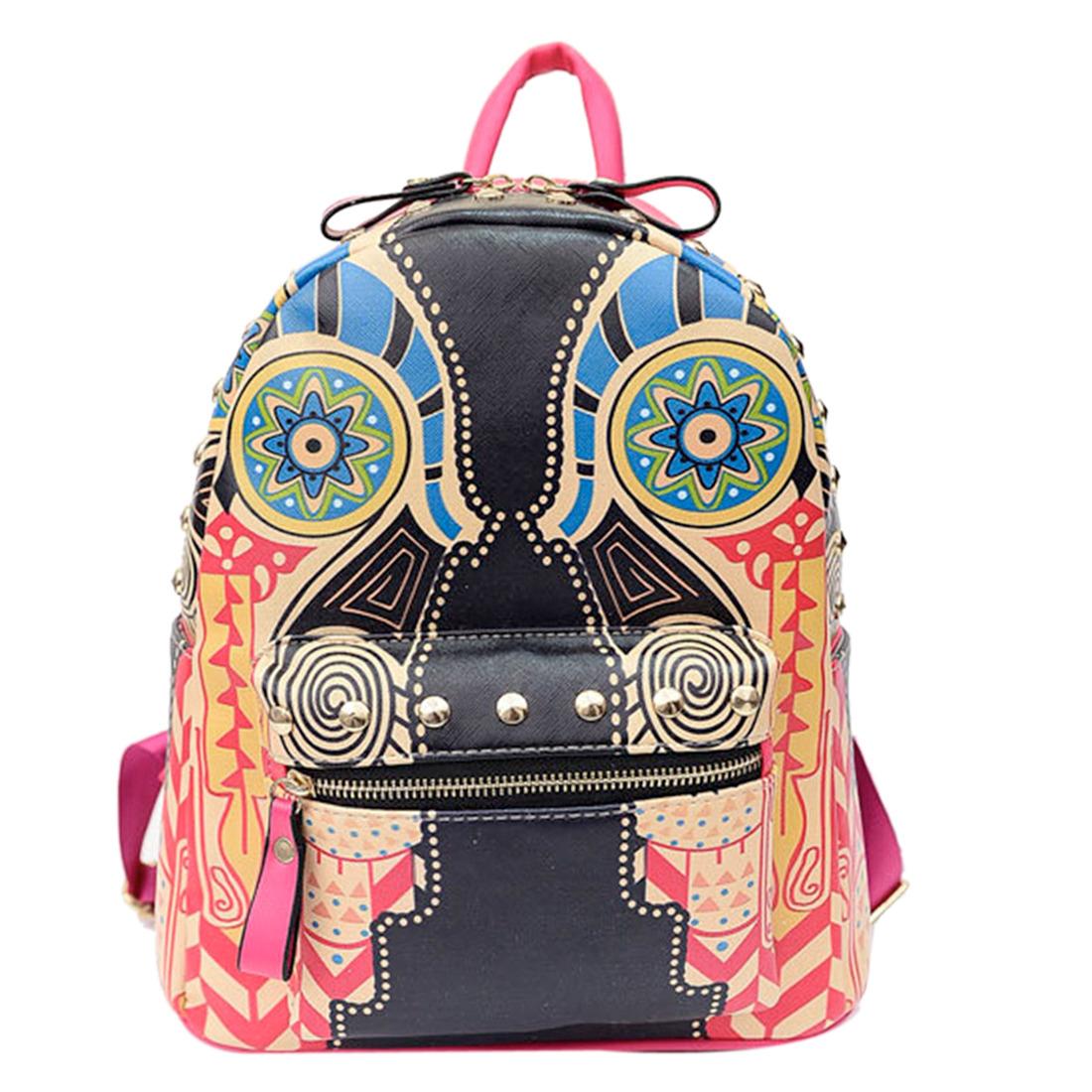 Back To School Vintage Women Printed Rivet Handbag Backpack Satchel Shoulder Bag