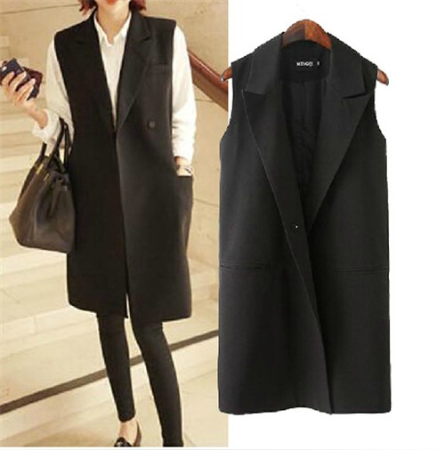 Covered Button Women Black Long gilet Jacket Blazer Coat