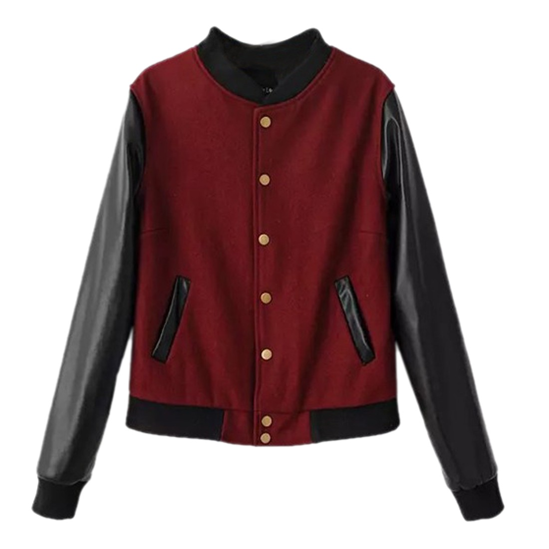women fashion Baseball uniform pu leather sleeve wool short jacket coat