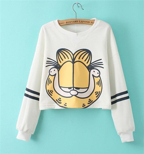 Garfield Pattern Short Sweats Women Long Sleeve Hoodies Tops blouse блузка
