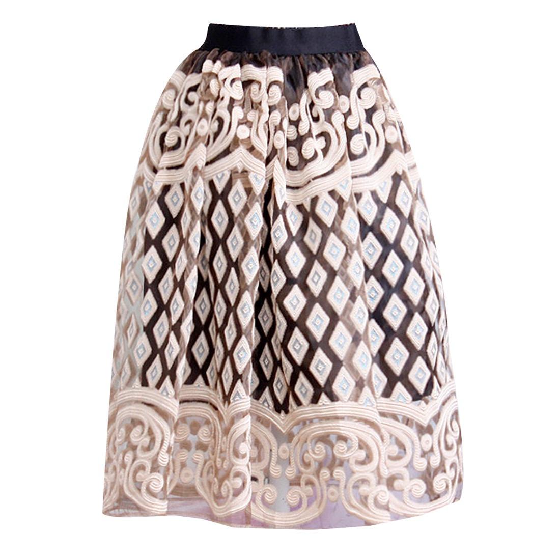 Women Organza Embroidery High Waist Pleated Vintage Style Midi Tulle Skirts