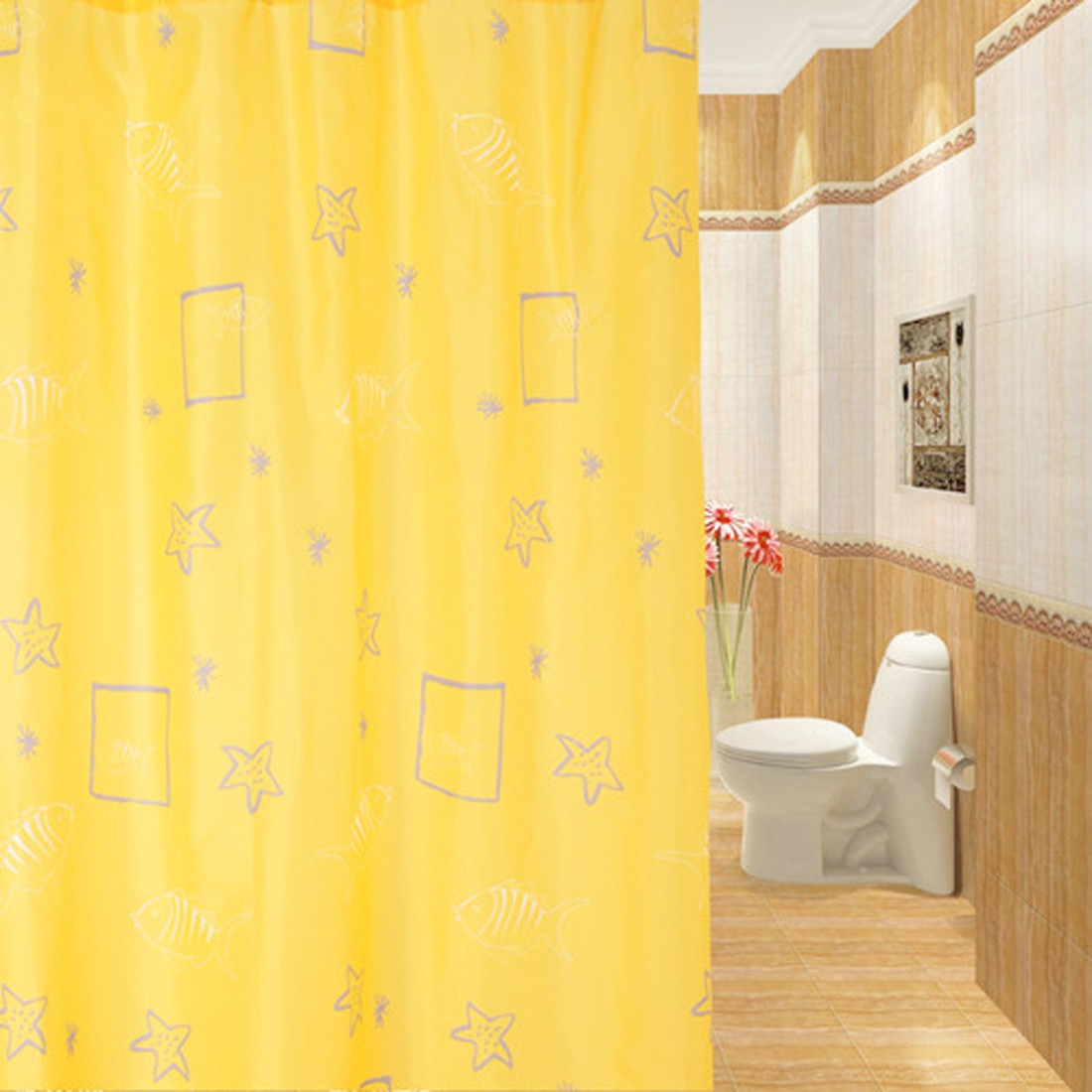 Home Printed Yellow Bathroom Waterproof Polyester Shower Curtain With Hooks Ebay