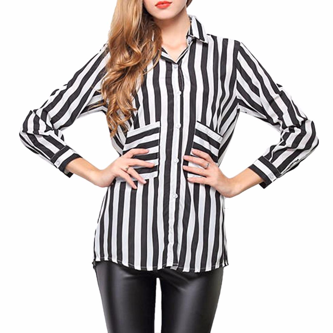 Costume Black White Striped Women Long Sleeve Lapel Chiffon Shirts Tops