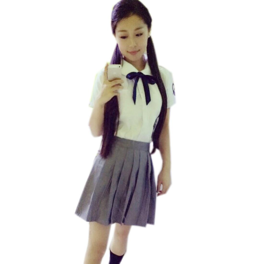 New Japanese Style Student Girls White Short Sleeve Lapel Shirts Uniforms