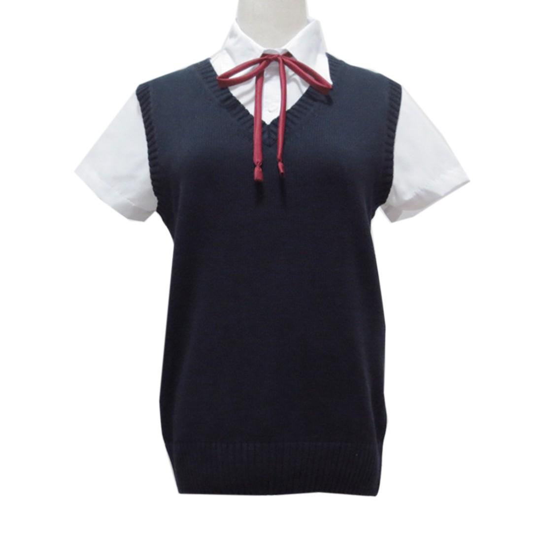 Women Sleeveless V Neck Cotton Knitting Sweater School Girls JK ...
