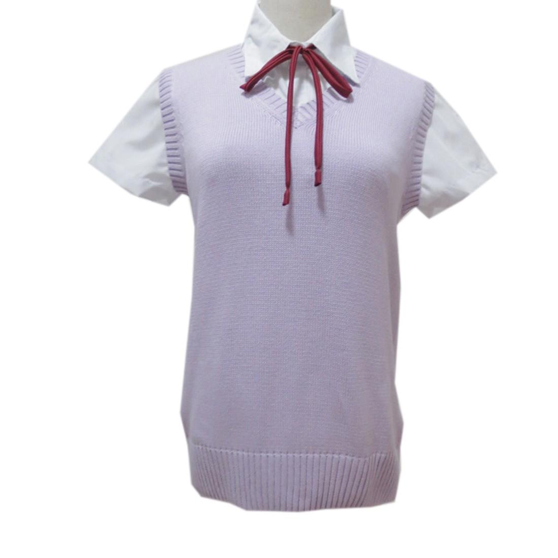 Women sleeveless v neck cotton knitting sweater school for Womens school uniform shirts