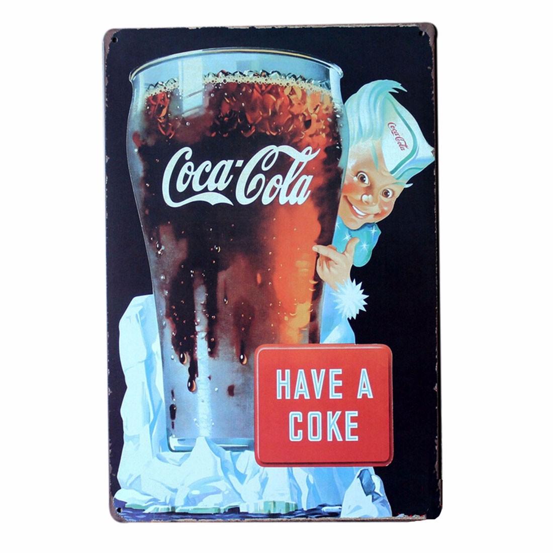 Coca cola pub bar home wall metal sheet iron art plaque for Coca cola wall mural