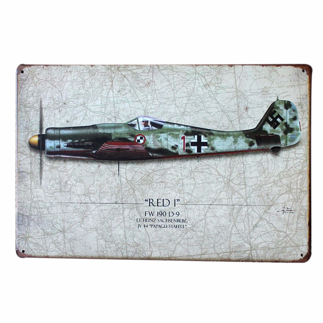 War airplane vintage bar pub metal sheet tin plaque wall for Plaque murale decorative metal