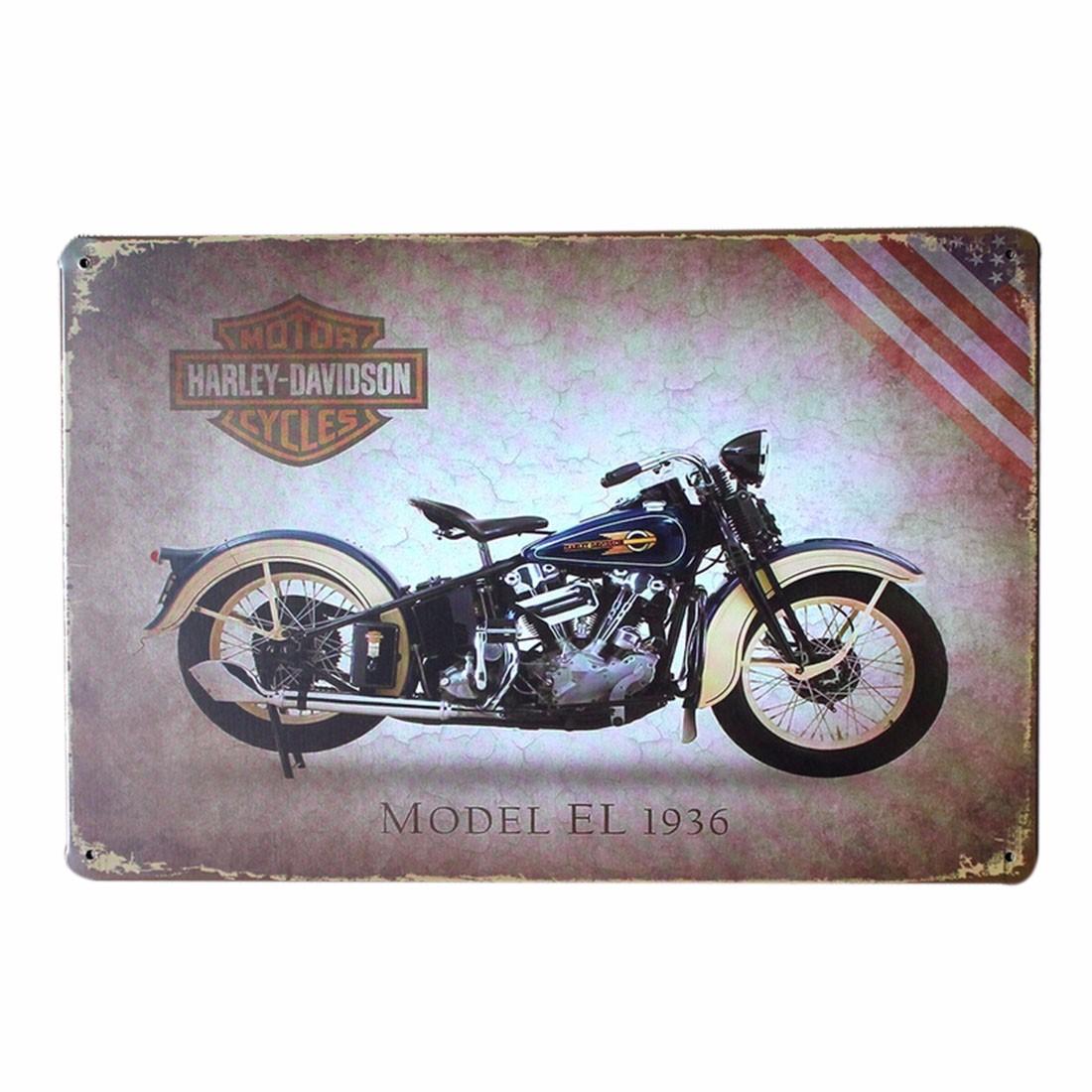 Motorcycle Sports Car Retro Pub Bar Metal Plaque Decor Sign Wall Tin Poster