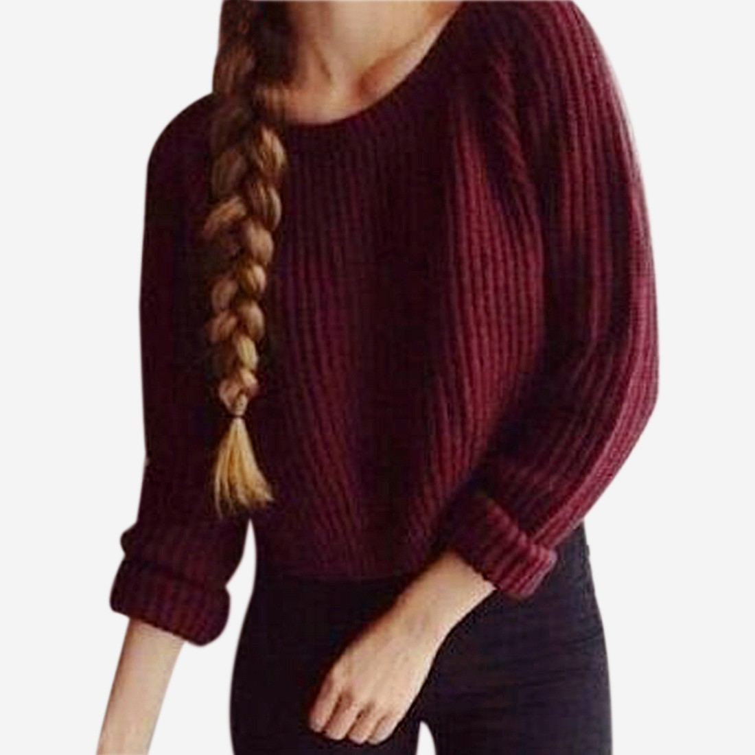 Lady Wine Red Winter/Fall Sweater Round Neck Short Pullover Long Sleeves
