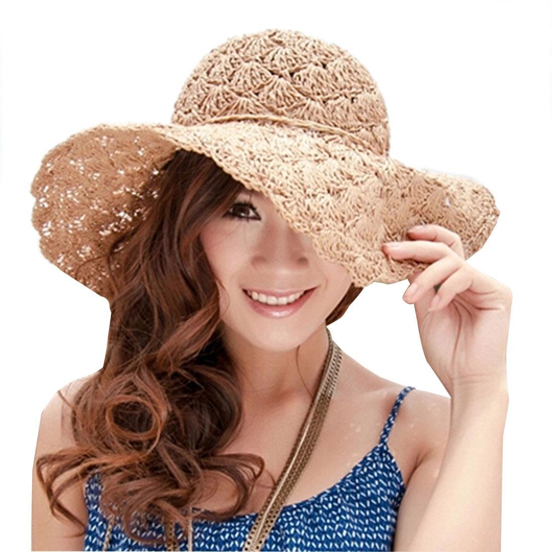 Women'S Summer Visor Cap Folding Handmade Straw Hat Hollow Out Flower Beach Cap