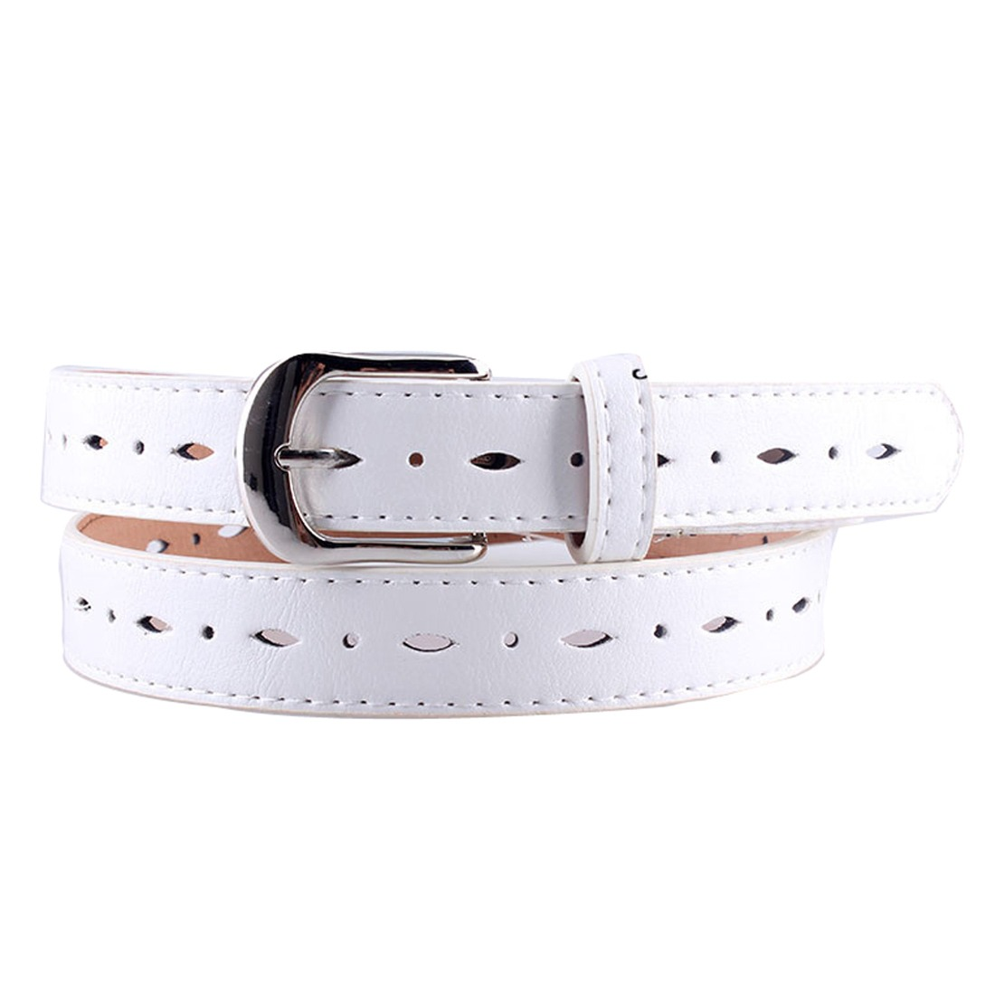 Women Fashion Hollow Out Pin Buckle Pu Leather Skinny Thin Waistband Waist Belt