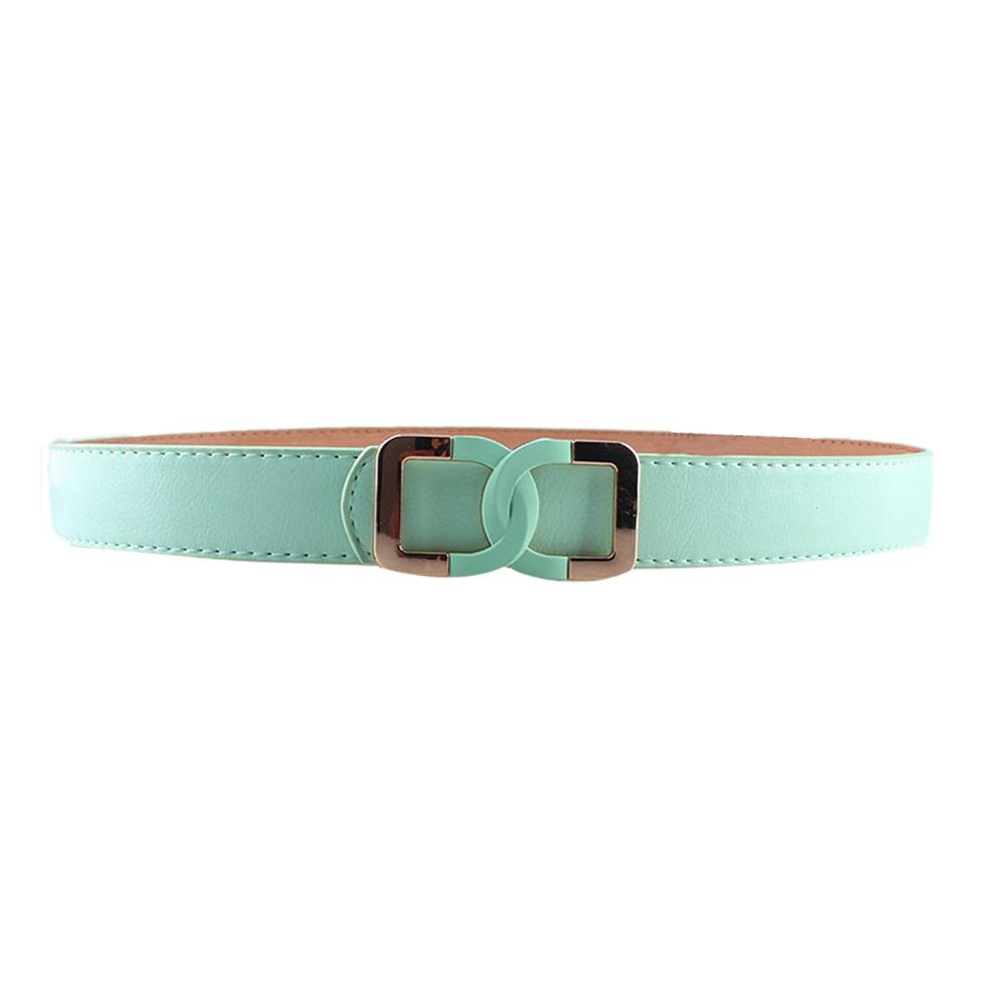 Women Fashion Dress Pu Leather Thin Release Buckle  Waistband Waist Belt