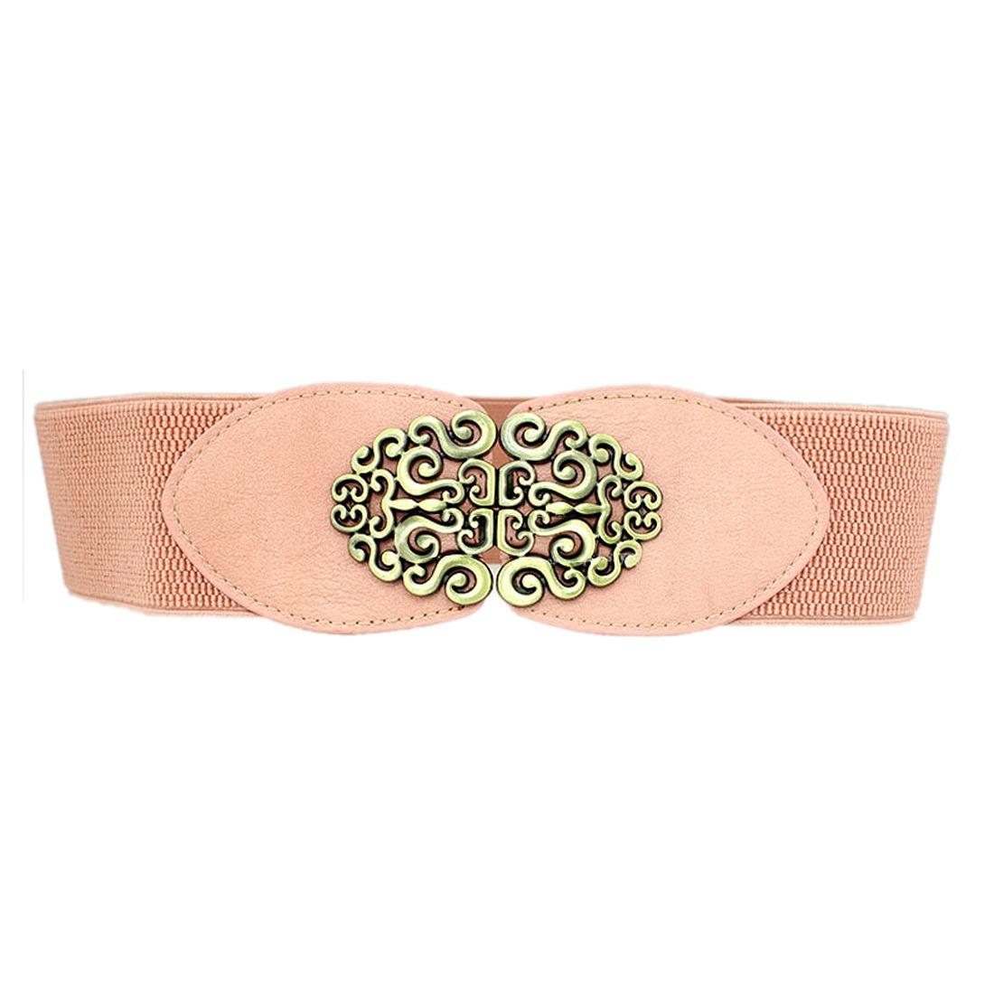 Retro Women Fashion Flower Buckle Waist Belt Wide Elastic Wide Waistband Belts