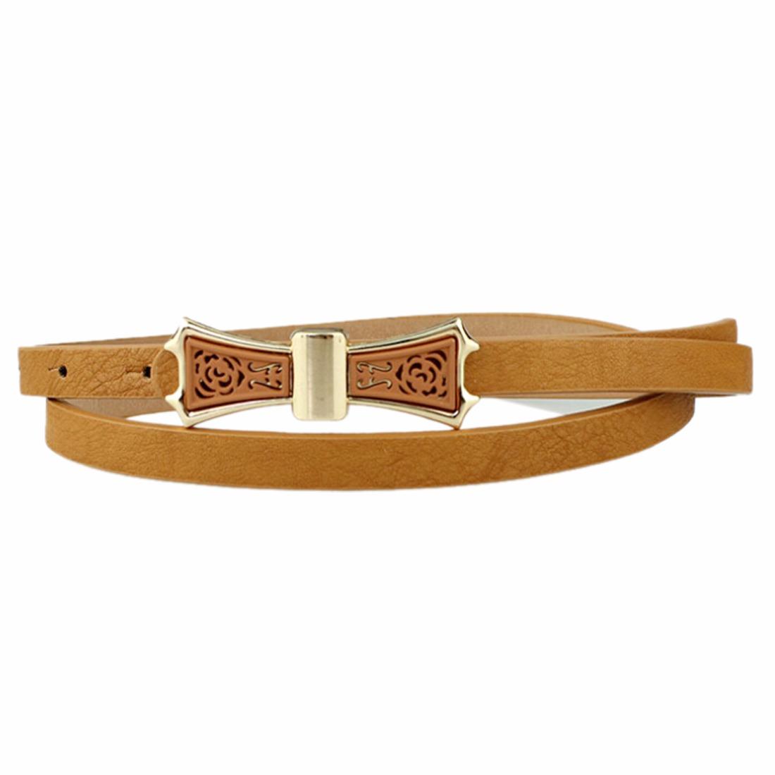 New Womens Wide Bowknot Metal Buckle Adjustable Waist Belt Skinny Thin Waistband