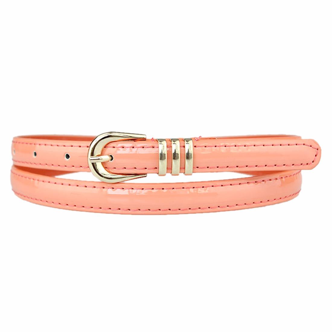 Shiny Pu Leather Pin Buckle Skinny Women Fashion Waistband Thin Waist Belt