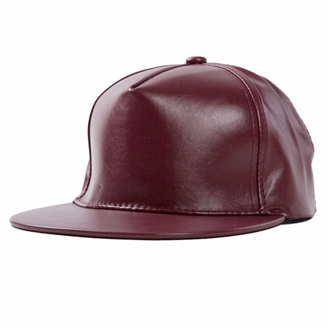 Hot Solid Color Pu Leather Costume Brim Hats Hip Hop Visor Baseball Caps Sunhat