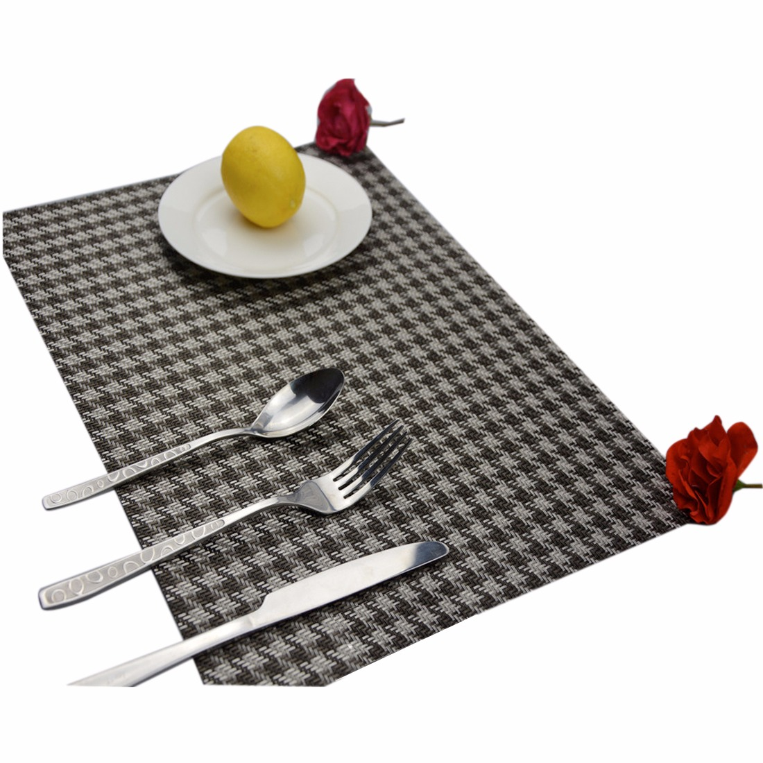 Houndstooth Placemats PVC Insulation Cup Plate Pad Table Mats Kitchen Décor