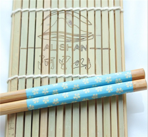 5 Pairs  Flower Printed Cute Bamboo Tradition Chopsticks set  baguettes