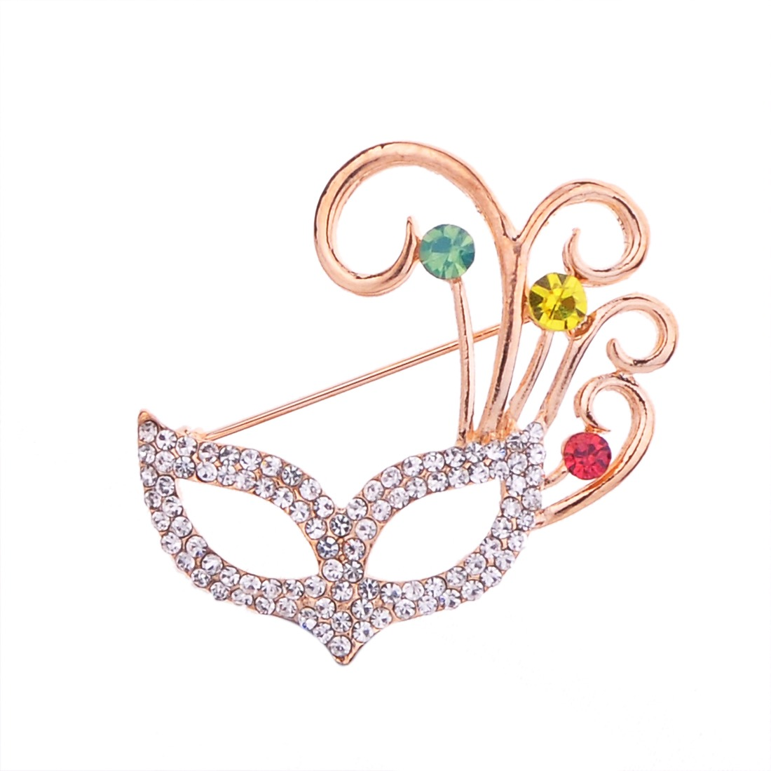 Fox eye mask with colorful crystal wedding prom brooch pin silver gold tone