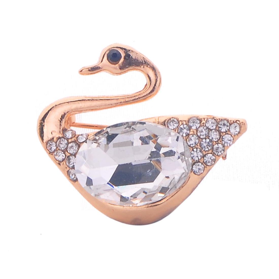 Brown Crystal rhinestone in Metal golden Mandarin Duck bridal wedding brooch pin