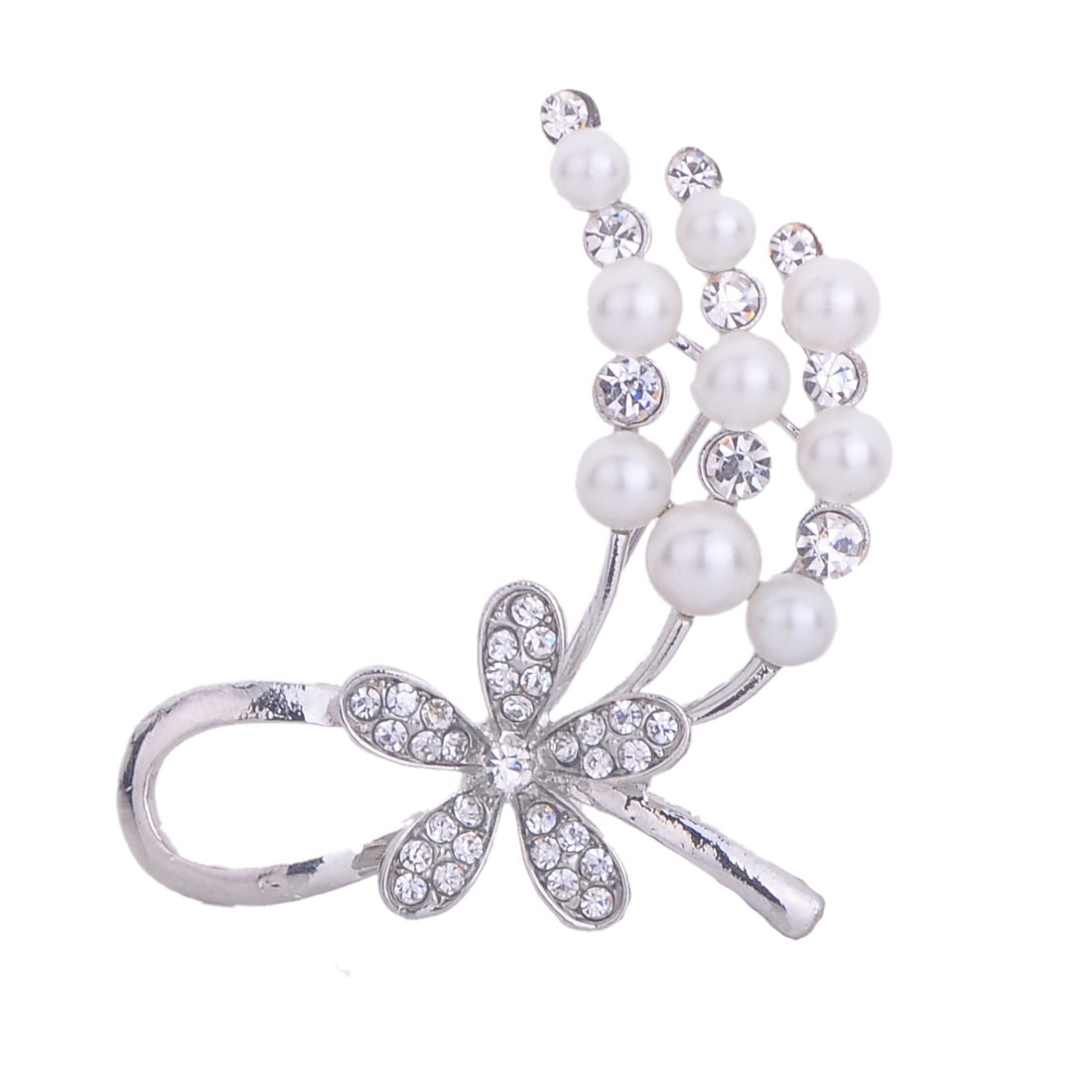 New Women Elegant Rhinestone Flower White Pearl Party Club Brooches pin