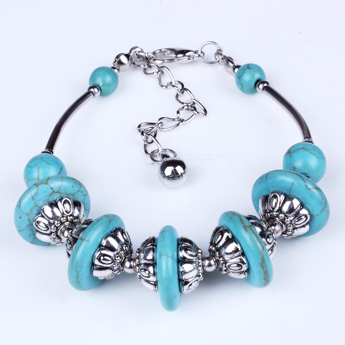 new Tibet silver turquoise blue stone bead bangle bracelet tribal браслет