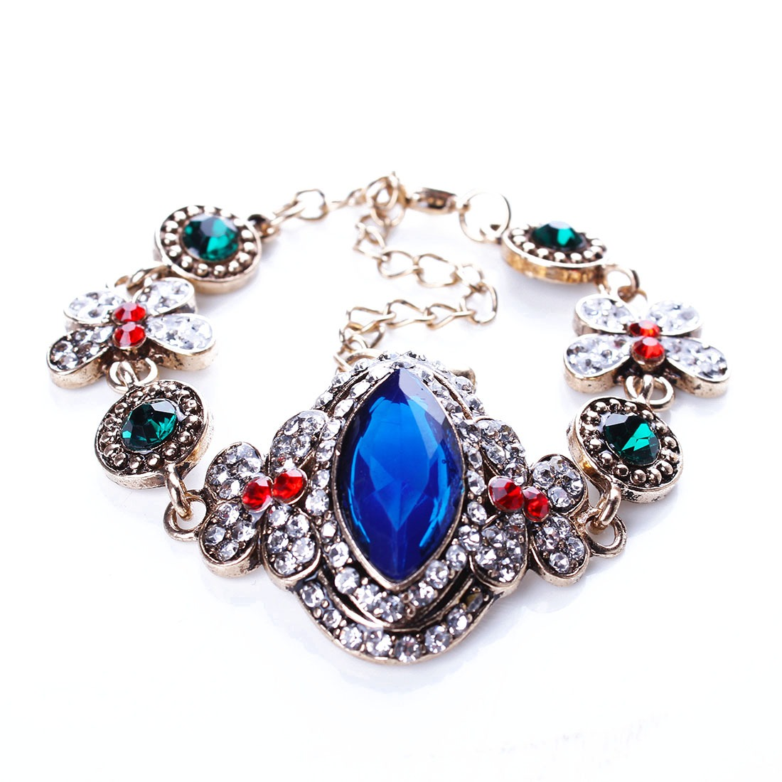 Crystal Rhinestone Women Bracelet Butterfly Ancient Gold Exotic Chain Bangle