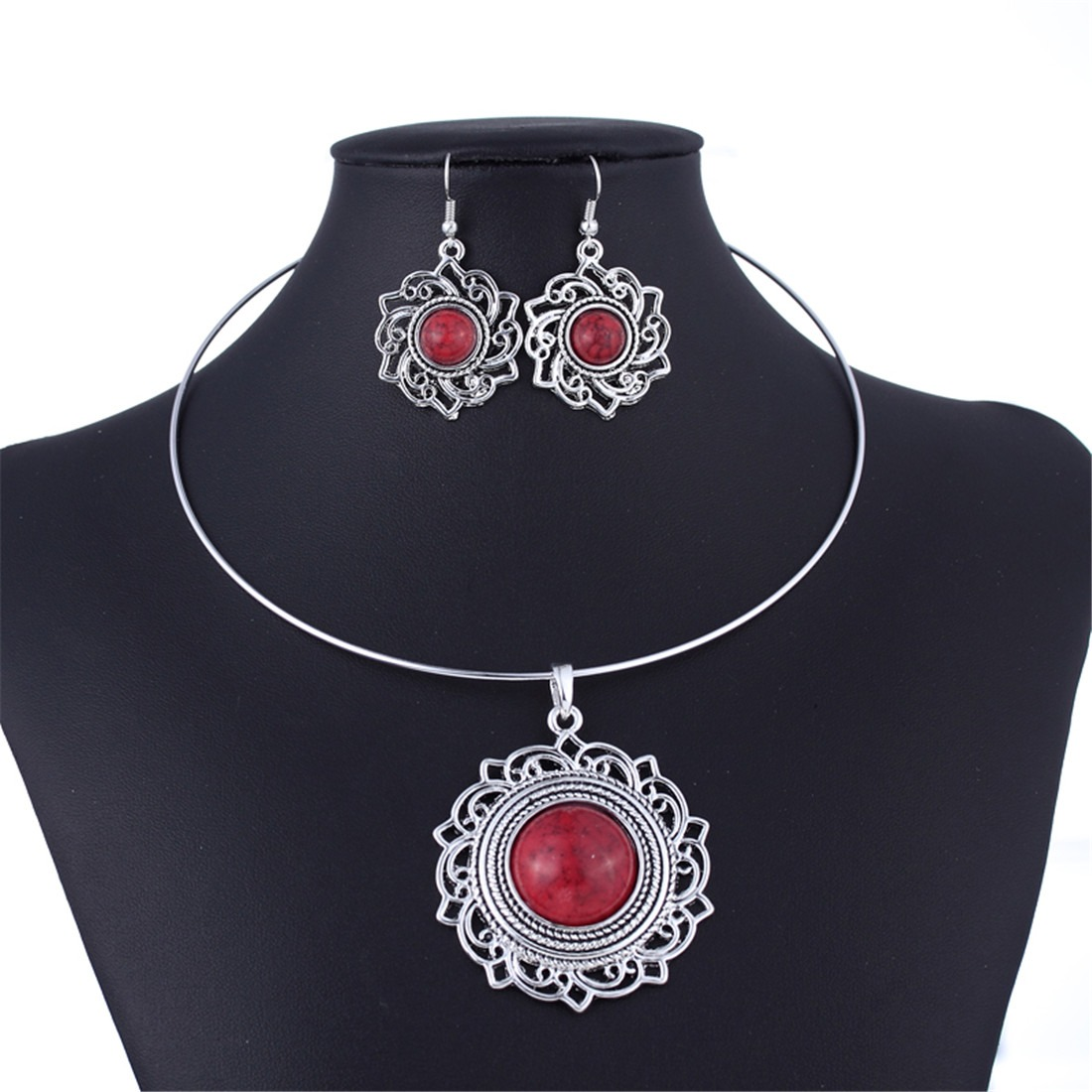 Tibet Silver Flower Lucky Totem Turquoise Torque Choker Necklace Earrings Set