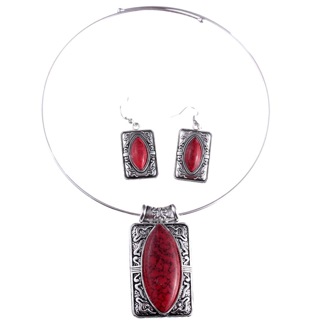vintage style women rectangle pendant fashion jewelry set necklace earring