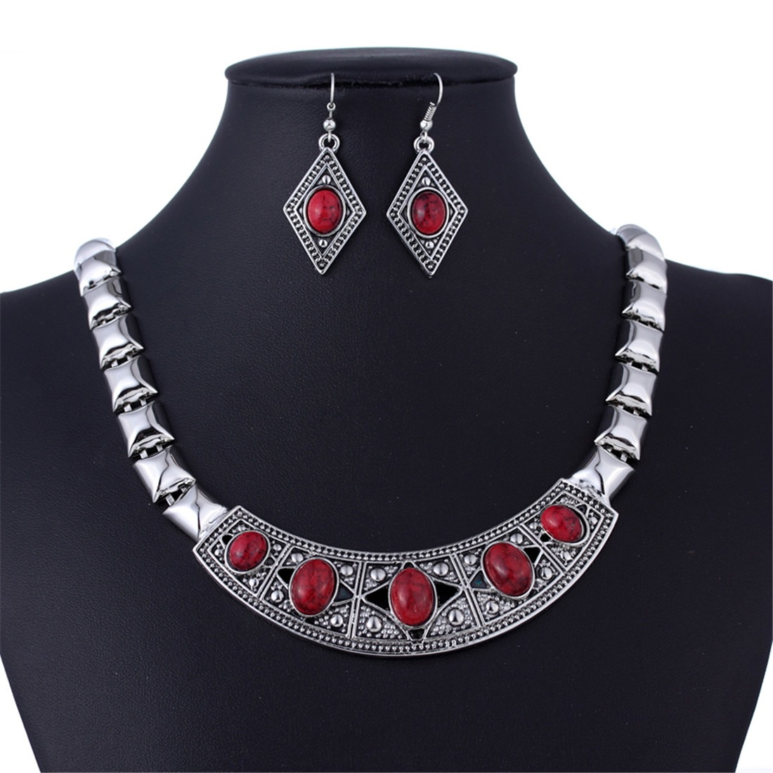 Chunky Choker Collar Silver Chain Earring Necklace Set ...