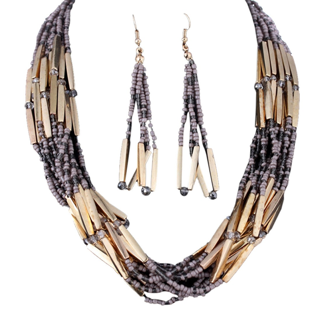 Vogue Lady's Small Beaded Torsade Multiple Layers Gold Necklace Earrings Set