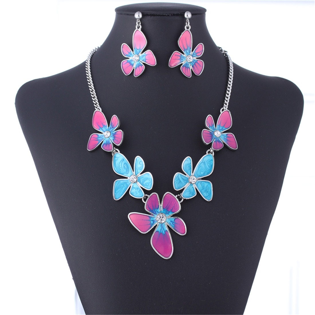 Oil Drop Flower Stainless Steel Extro Chunky Chain Necklace Earrings Jewelry Set