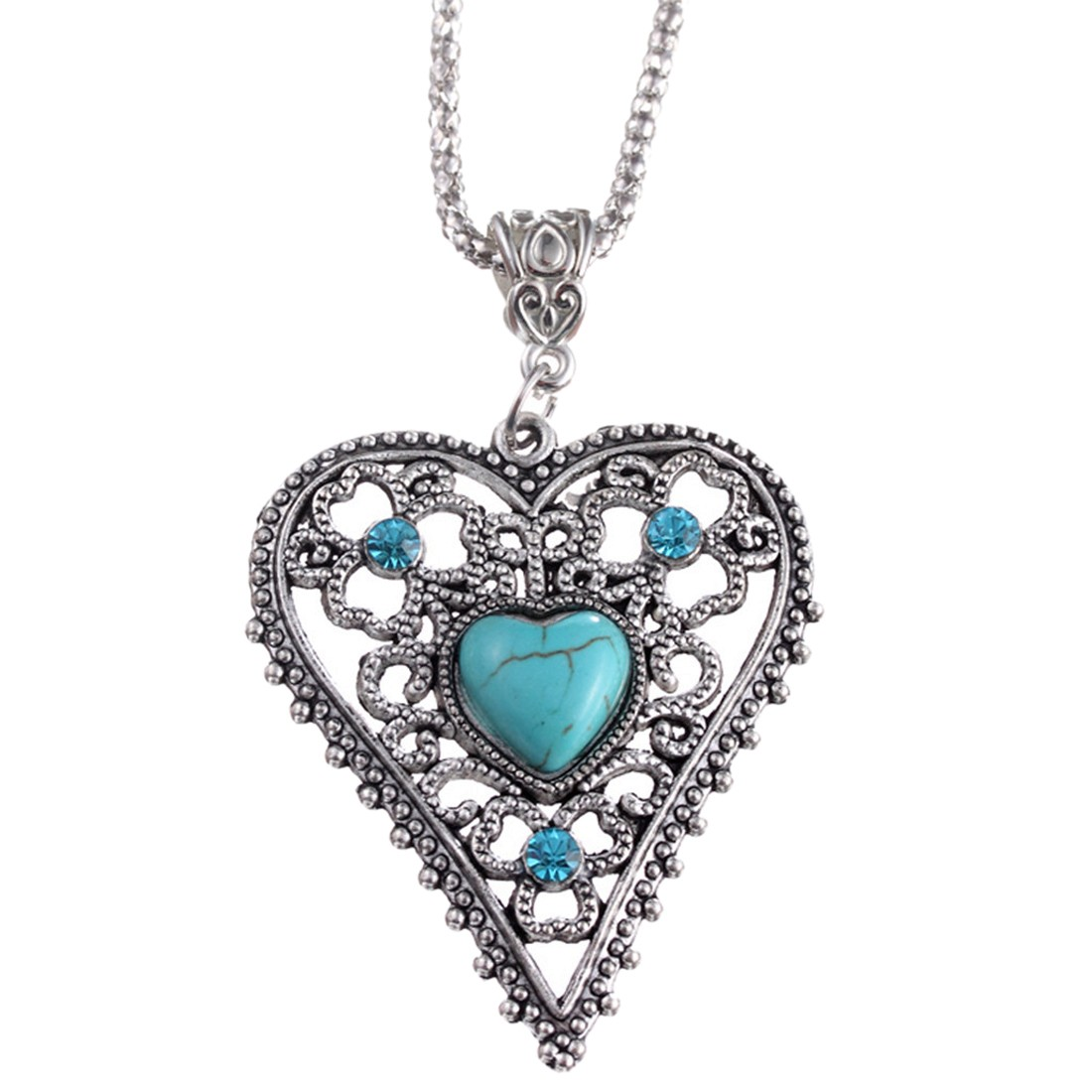 Tibet Silver Hollow Out Turquoise Blue Bead Heart Love Pendant Necklace