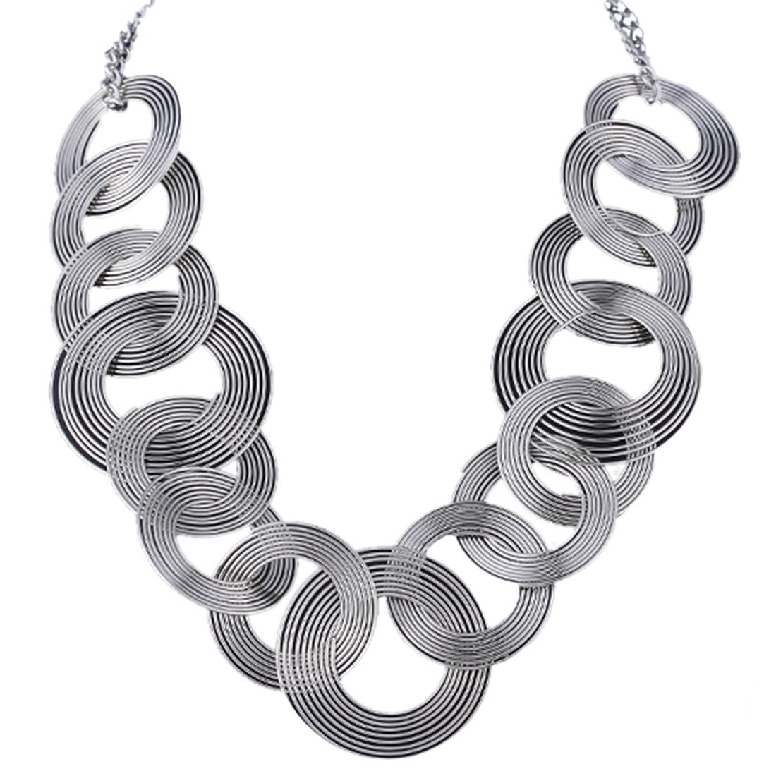 new women chunky silver tone circle tangled collar statement necklace choker