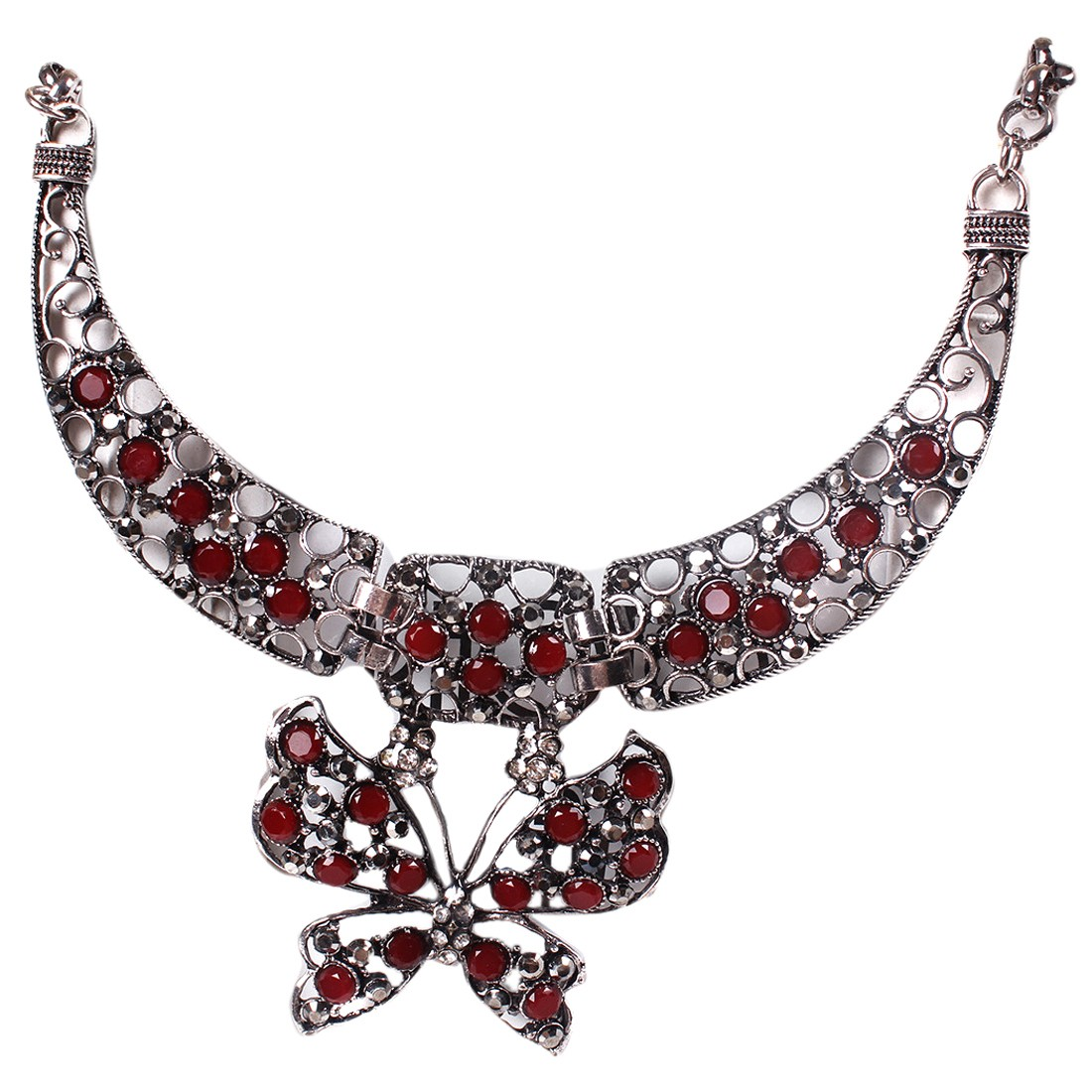 Chunky Necklace Collar Antique Silver Hollow Resin Bead Butterfly Pendant W1 Ebay