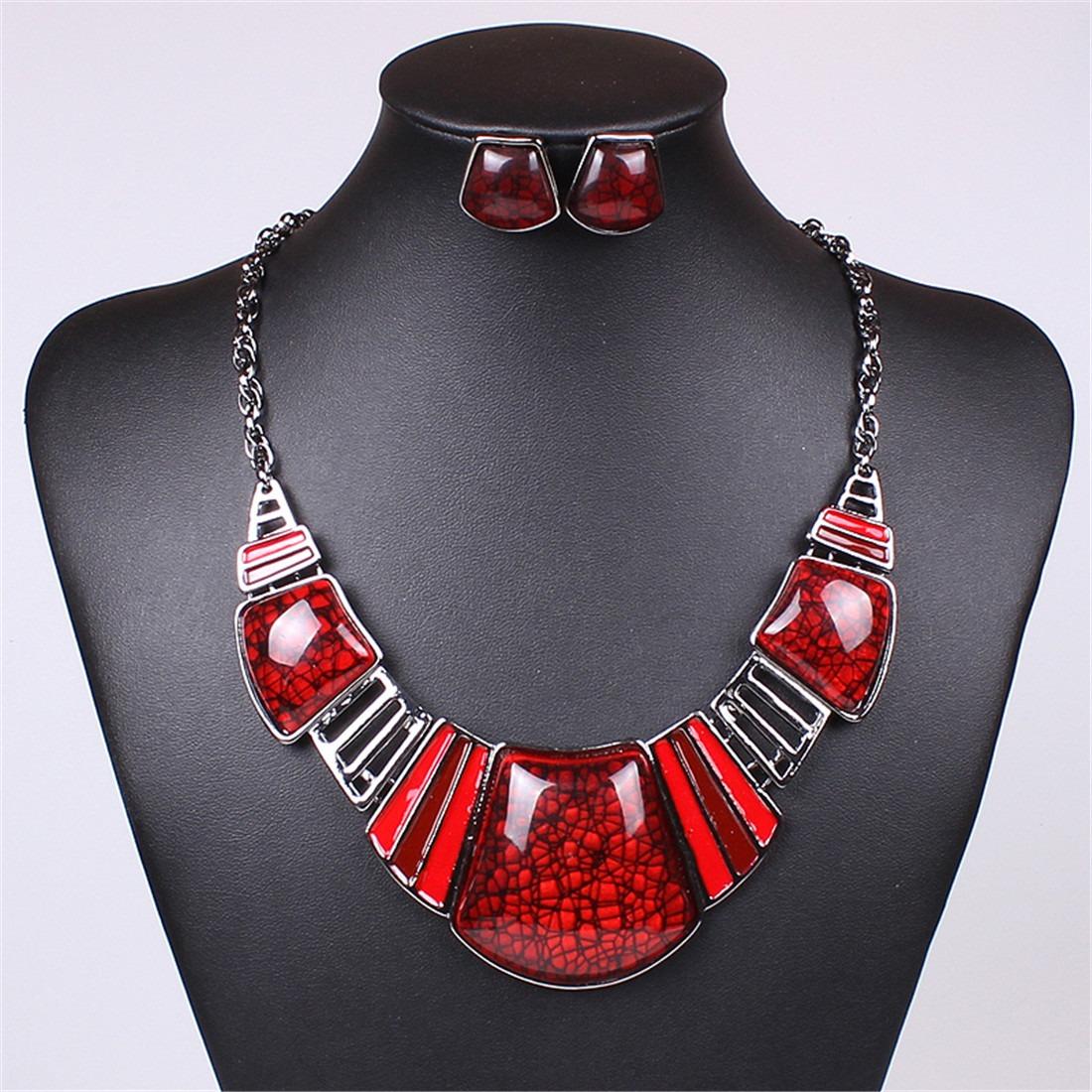 multi-color resin bead pendant statement women necklace earrings set