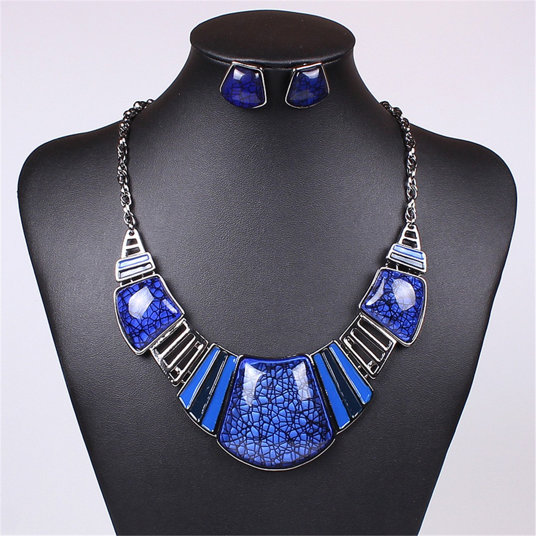 New Women Charming Multi-Color Fashion Party Club Bib Necklace Earring Chain Set