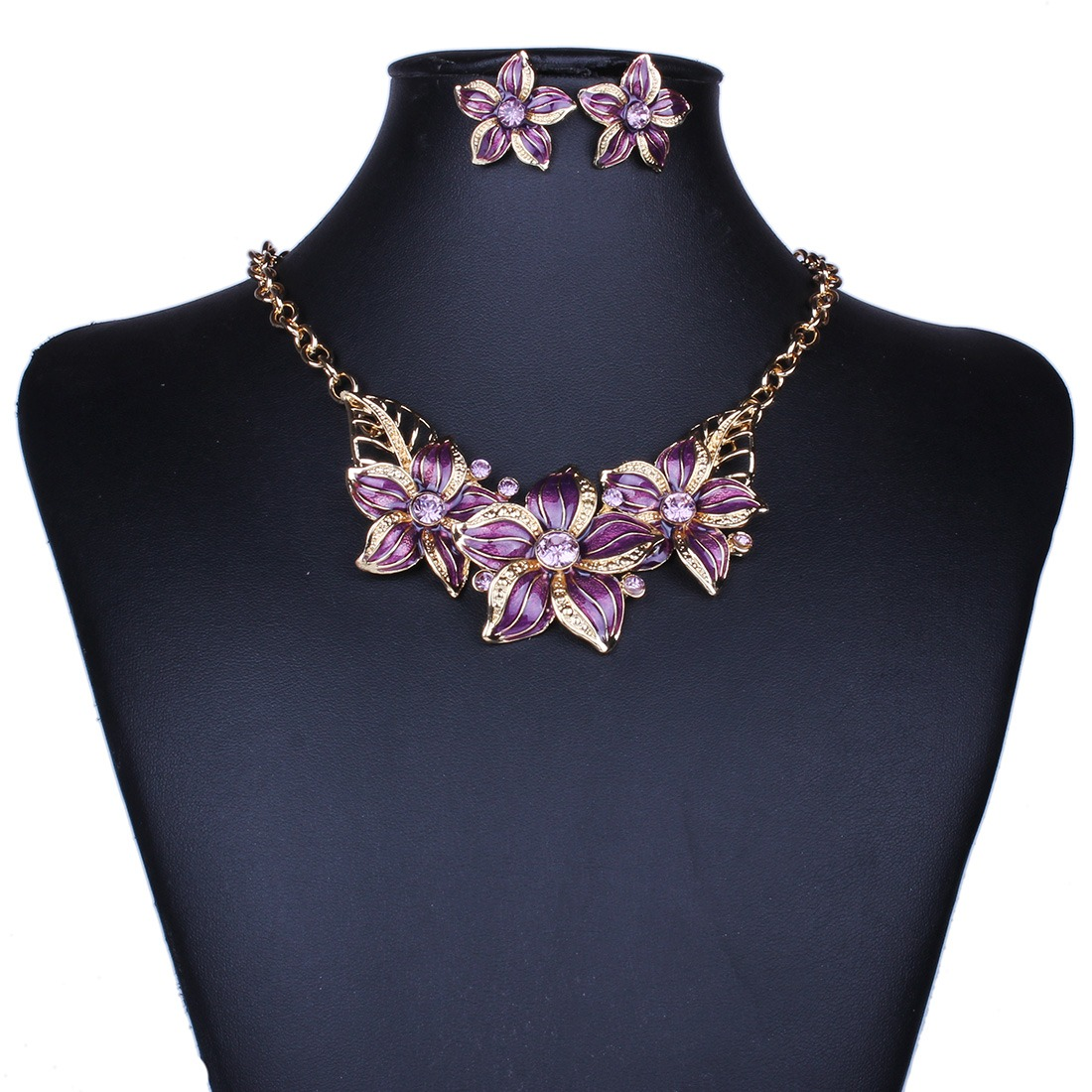 oil drop rhinestone crystal flower statement collar necklace earring set new fas