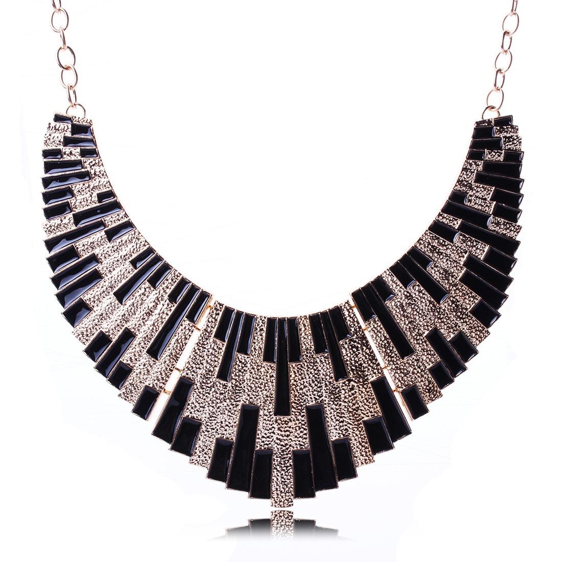 charm black fashion bling drip chunky bib choker gold