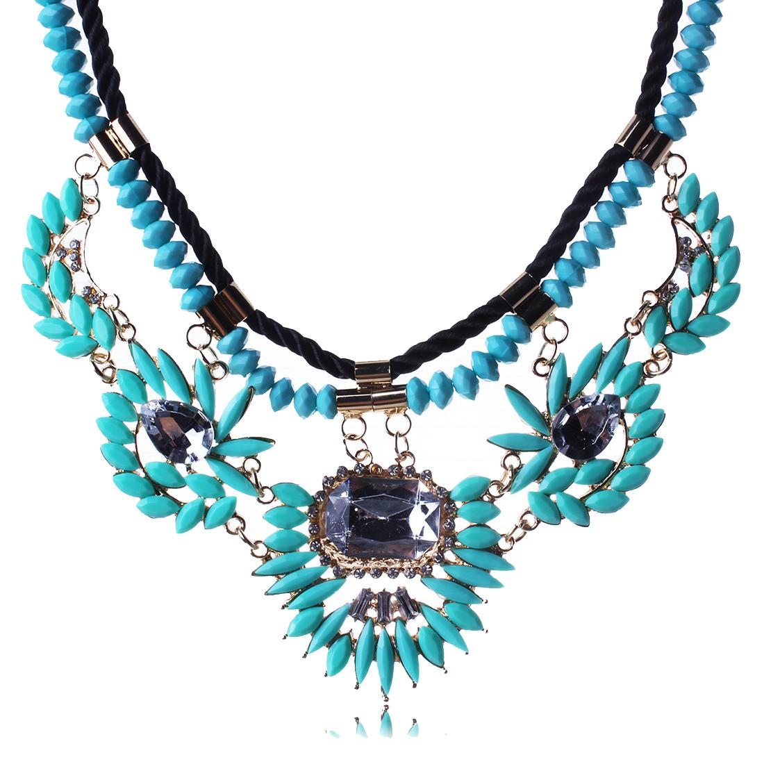 18K gold resin bead leather rope flower statement rhinestone bib choker necklace