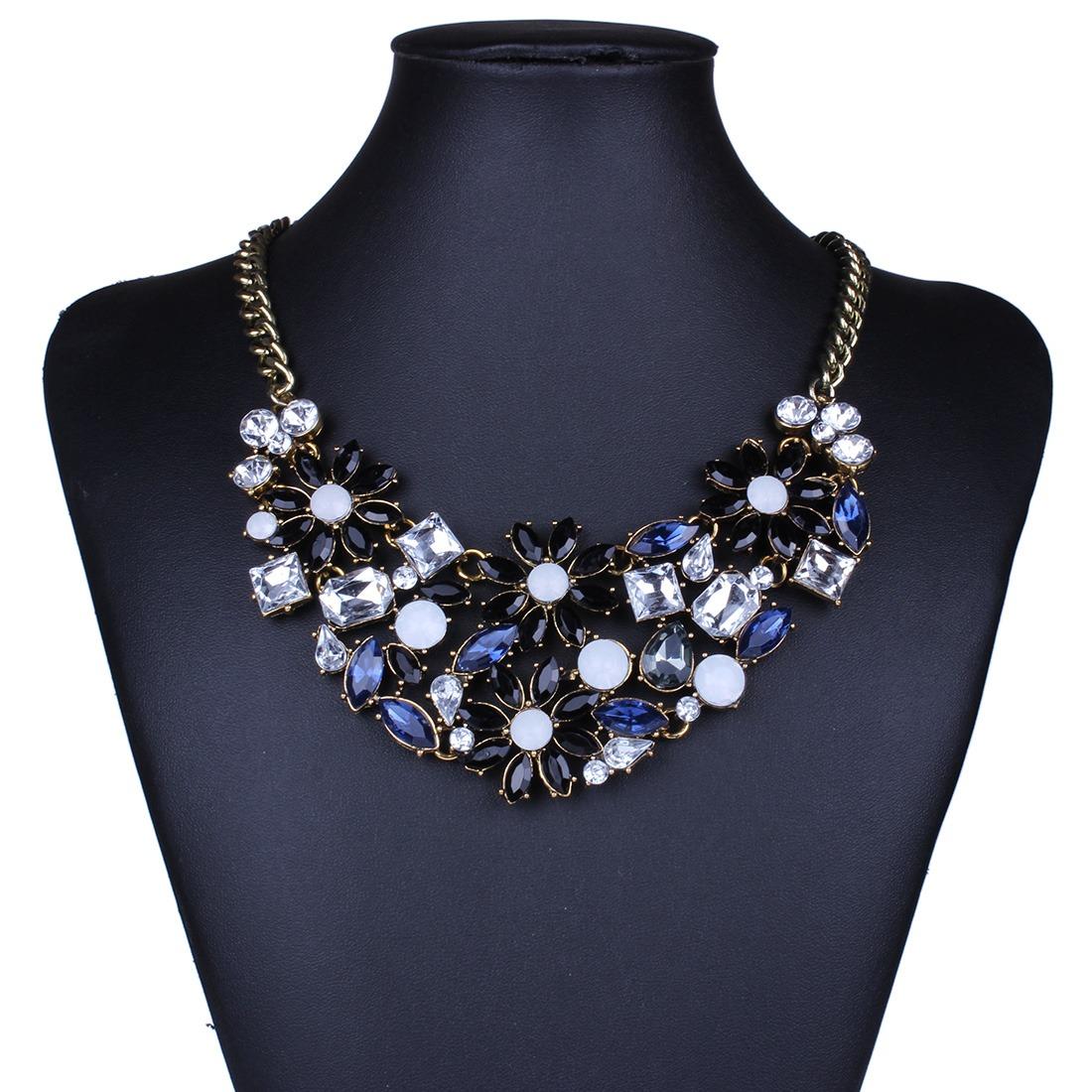Bling sparkling rhinestone flower chain bib choker statement collar necklace