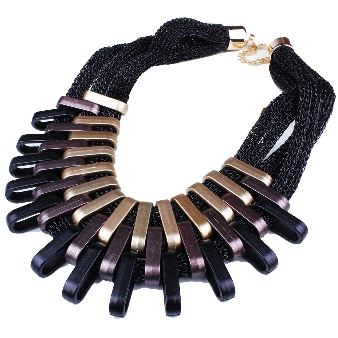 stylish new lady chunky link up multi strand chain collar necklace women