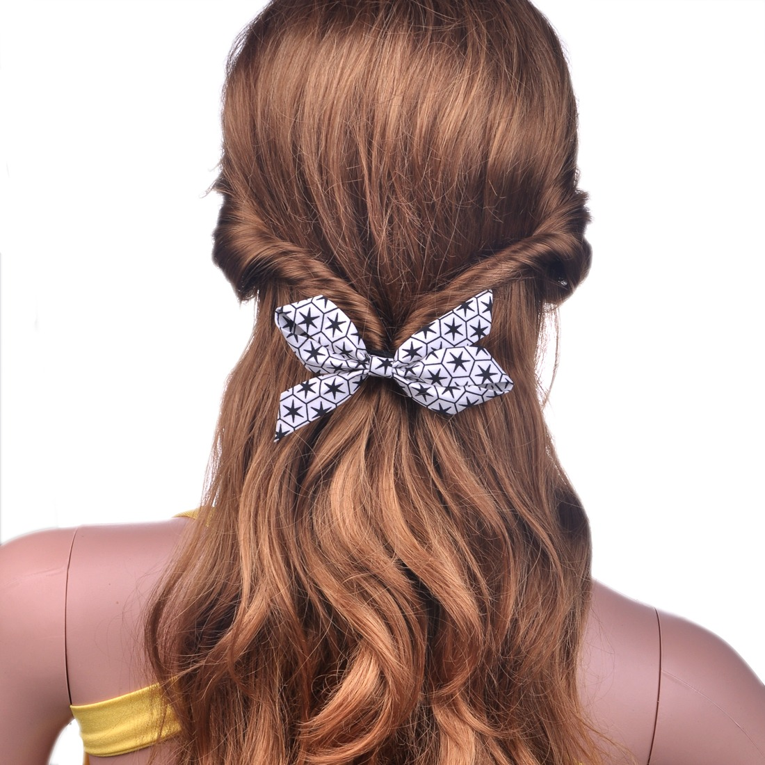 Stary Night Stars Bow Bowknot Scrunchie Ponytail Holder For Girls For Thick Hair