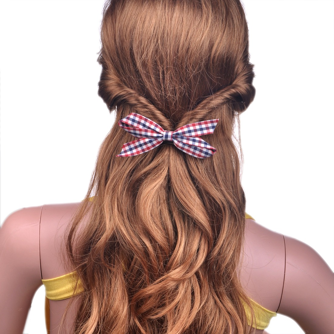 Checked Plaid Bow Bowknot Scrunchie Ponytail Holder For Girls For Thick Hair