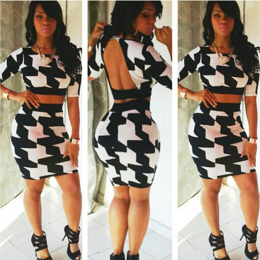 Sexy Clubwear Black White Print Bandage Halter Long Sleeve Top Bodycon Skirt Set