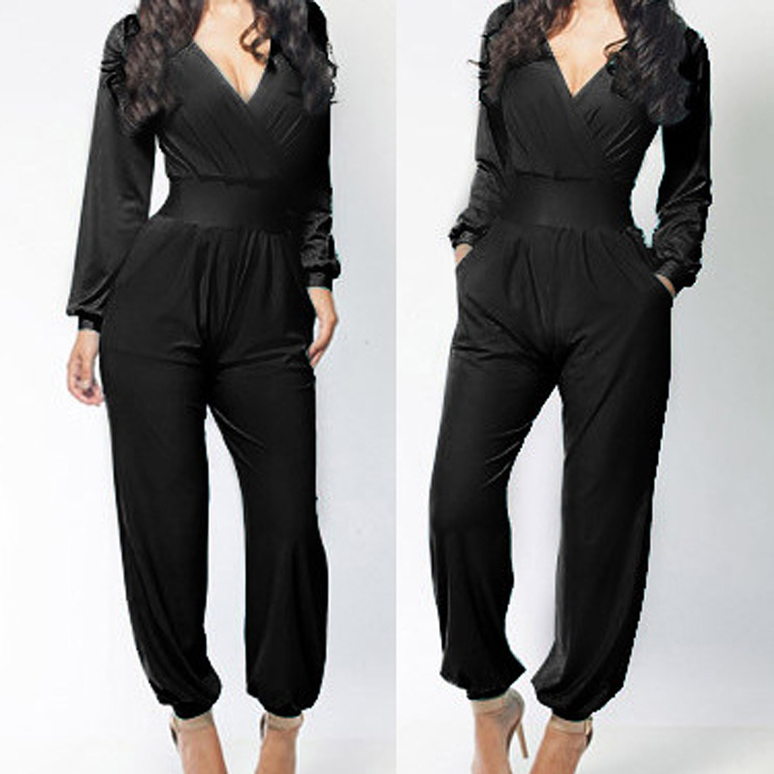 Sexy Hot Red Long Sleeve Deep V Neck Elegant Women's Jumpsuit ...